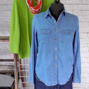 Chambray Blue Denim Button Down Top Blouse Shirt